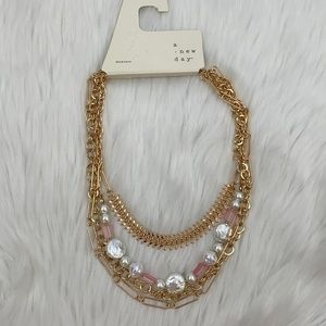 4/$20 A New Day Gold Chain, Pearl, Pink Necklace